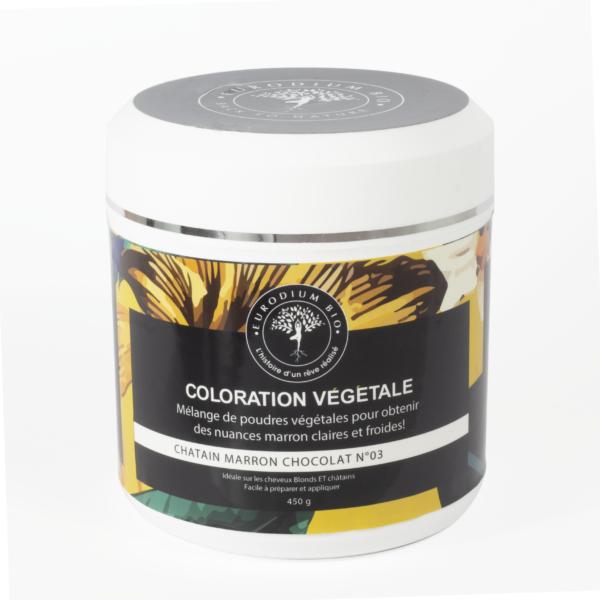 Coloration végétale 03 couleurs/reflets ou nuances marron chocolat châtain